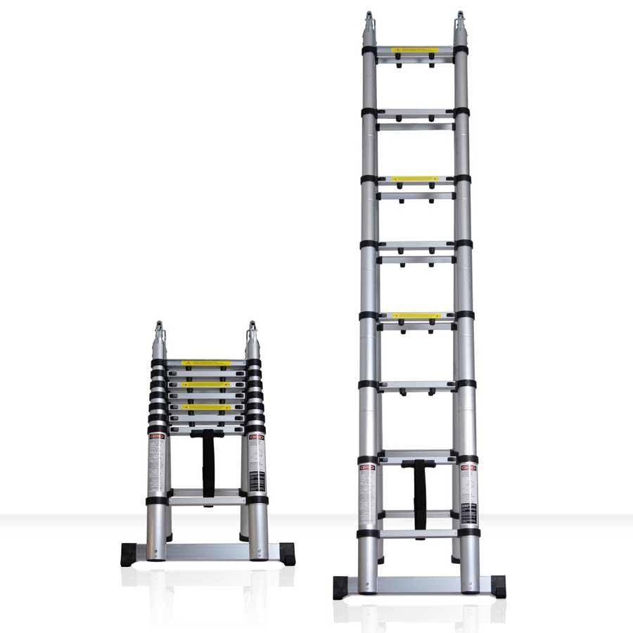 Escalera telescópica extensible de aluminio